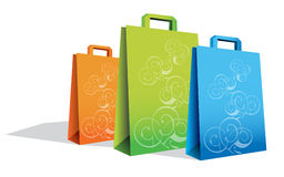 Shopping Bags. Illustration of various sized shopping bags isolated on white Stock Photo