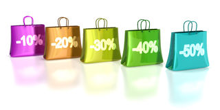 Shopping Bags. Colorful shopping bags wit various discount on front Royalty Free Stock Images