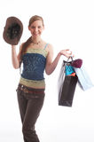 Shopping bags. A girl with shopping bags royalty free stock photo