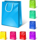 Shopping bags. Vector shopping bags (8 colour versions Royalty Free Stock Images