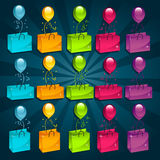 Shopping Bags with Balloons Stock Images
