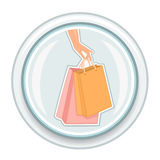 Shopping bags button Stock Photos