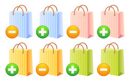 Shopping bags and button. Shopping bags set; multicolor; sale; discount; isolated vector illustration Royalty Free Stock Photos