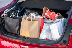 Shopping bags in car Royalty Free Stock Images