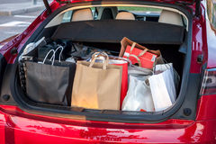 Shopping bags in car Stock Photo