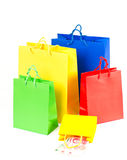 Shopping bags with chinese notes Royalty Free Stock Images