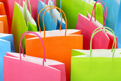 Shopping bags. Close up of colorful paper shopping bags