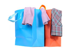 Shopping Bags with Clothes Royalty Free Stock Images