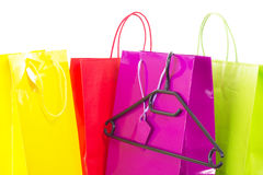 Shopping bags with clothes hanger Stock Photo