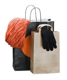 Shopping bags with clothing isolated on white Royalty Free Stock Image