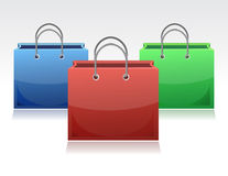 Shopping bags collection. On white background Royalty Free Stock Photos