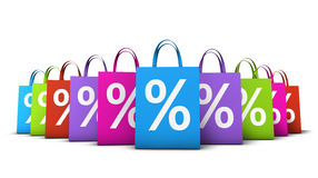 Shopping Bags Colorful Discount. Discount, sale and shops offers concept with a lot of colorful shopping bags with frontal percent symbol isolated on white Royalty Free Stock Photos