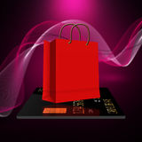 Shopping bags with  credit card Stock Image