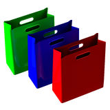 Shopping bags. 3D rendering. Royalty Free Stock Photography
