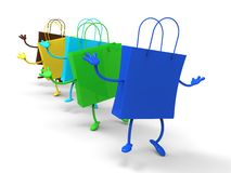 Shopping Bags Dancing Shows Retail Buys Stock Images