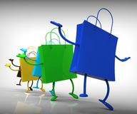 Shopping Bags Dancing Shows Shop Buys Royalty Free Stock Photo