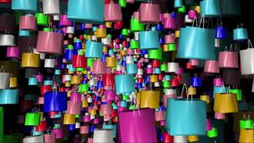 Shopping bags in different colors on black stock footage