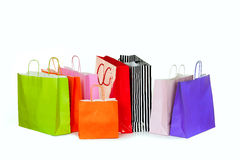 Colorful shopping bags  on white. Royalty Free Stock Images
