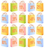 Shopping bags and discount. Shopping bags set; multicolor; sale; discount;  illustration; isolated; number and percent Royalty Free Stock Photography