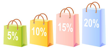 Shopping bags and discount. Shopping bags set; multicolor; sale; discount; isolated vector illustration Royalty Free Stock Photography