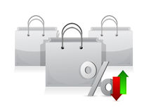 Shopping bags and discount percentage symbol Stock Images