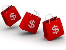 Shopping bags with dollar Stock Photos