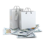 Shopping bags with dollar money Royalty Free Stock Photo