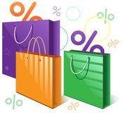 Shopping bags and falling interest Stock Photography