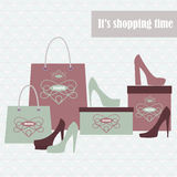Shopping bags and fashion shoes Royalty Free Stock Photos
