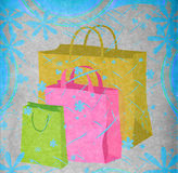 Shopping bags and flowers Stock Image