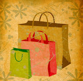Shopping bags and flowers Stock Images