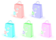 Shopping bags with flowers Royalty Free Stock Photo