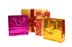 Shopping bags and giftbox isolated on the white Royalty Free Stock Image