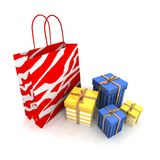 Shopping bags and gifts Stock Images