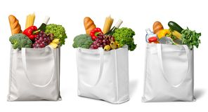 Shopping bags with groceries  on white Stock Photo