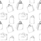 Shopping bags. Hand drawn shopping bags seamless pattern Stock Image