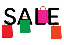 Shopping bags hanging on the word SALE royalty free illustration