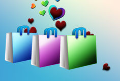 Shopping bags with hearts Royalty Free Stock Images
