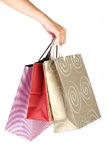 Shopping bags with human hand Royalty Free Stock Photo