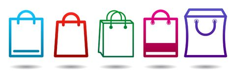 Shopping bags icons set color. Colorful shopping bags icon set on on white background - vector illustration Stock Photography