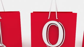 Shopping bags with inscription sale and 10 percents stock video footage