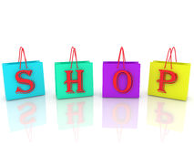 Shopping bags with inscription shop Royalty Free Stock Image