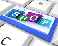 Shopping Bags Key Show Retail Store and Buying Royalty Free Stock Photography