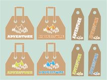 Shopping bags, labels collection. White, orange, green, blue mountains and trees  Royalty Free Stock Image