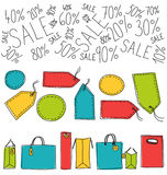 Shopping bags and labels Stock Photo