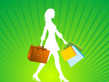 Shopping bags and lady. On rays vector illustration