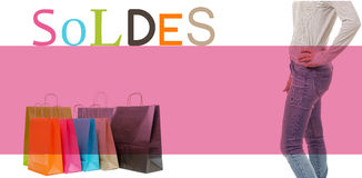 Shopping bags, legs of woman and sales Royalty Free Stock Photos