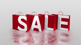 4 shopping bags making word - SALE stock footage