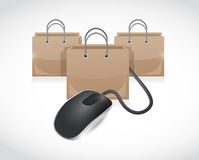 Shopping bags and mouse cable illustration Royalty Free Stock Image