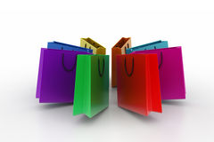 Shopping bags in multiple color Stock Images